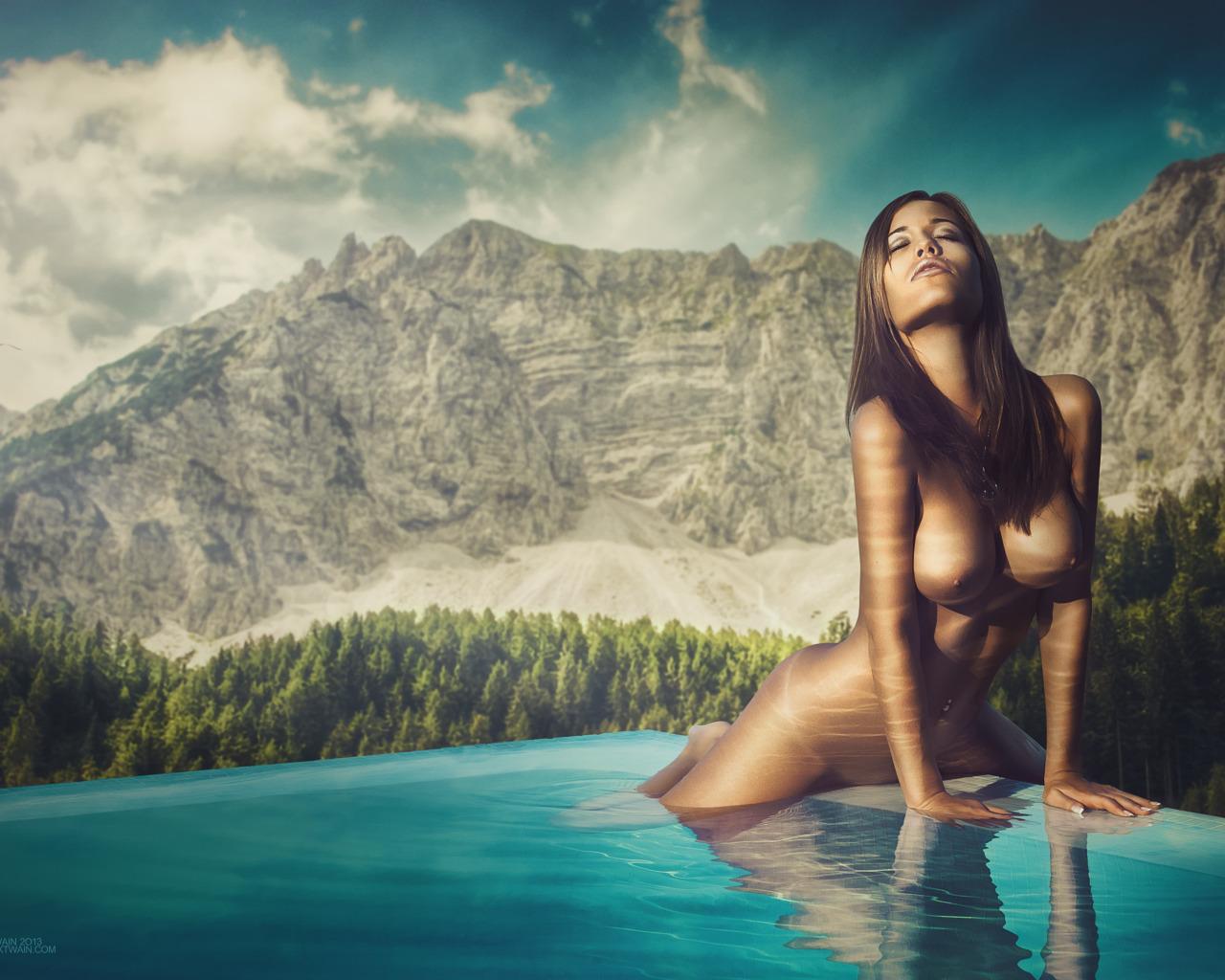 Ближним планом голая девушка на горе видеокамеру камеру спящих