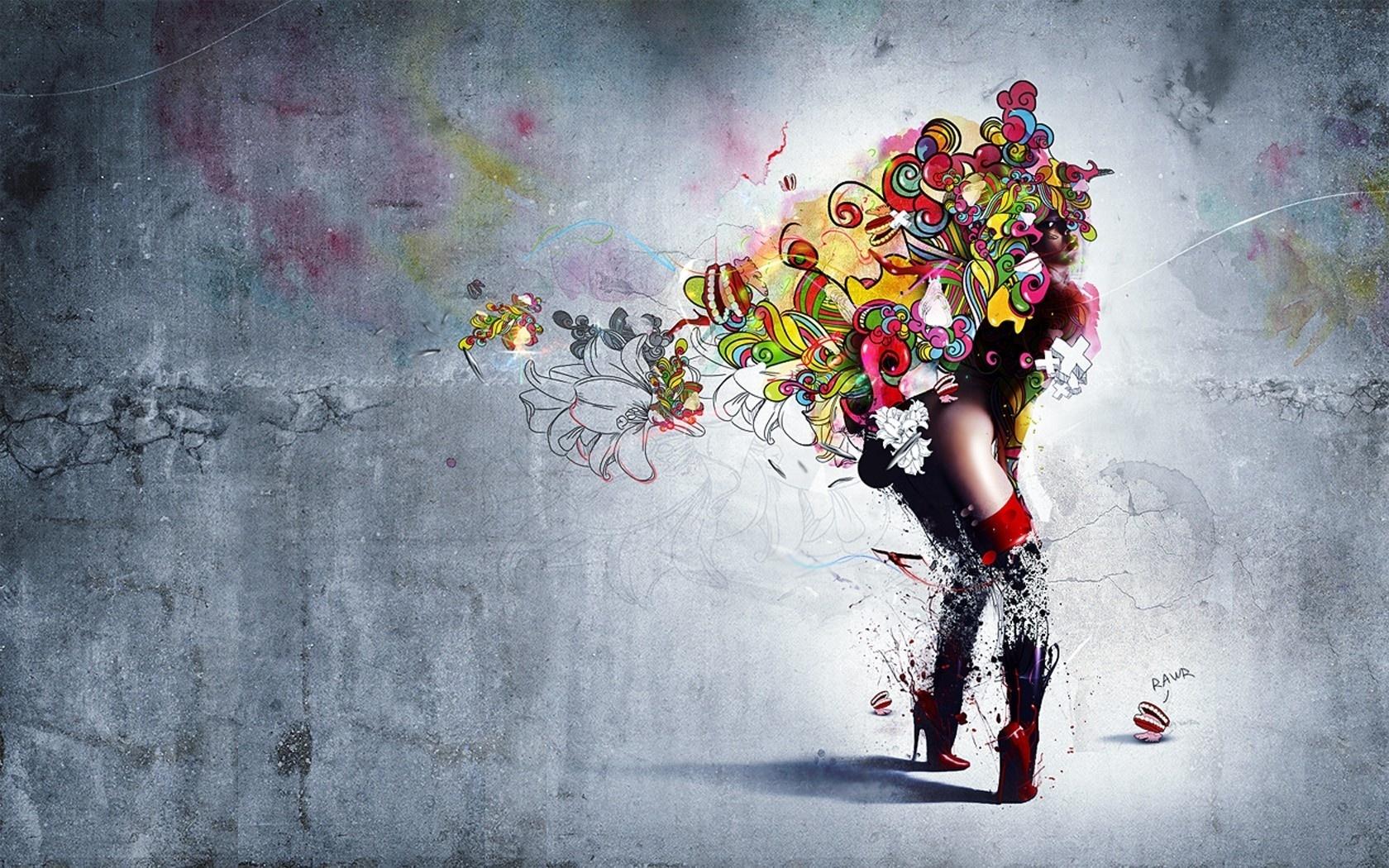 графика абстракция девушка цветы graphics abstraction girl flowers  № 2062359 бесплатно