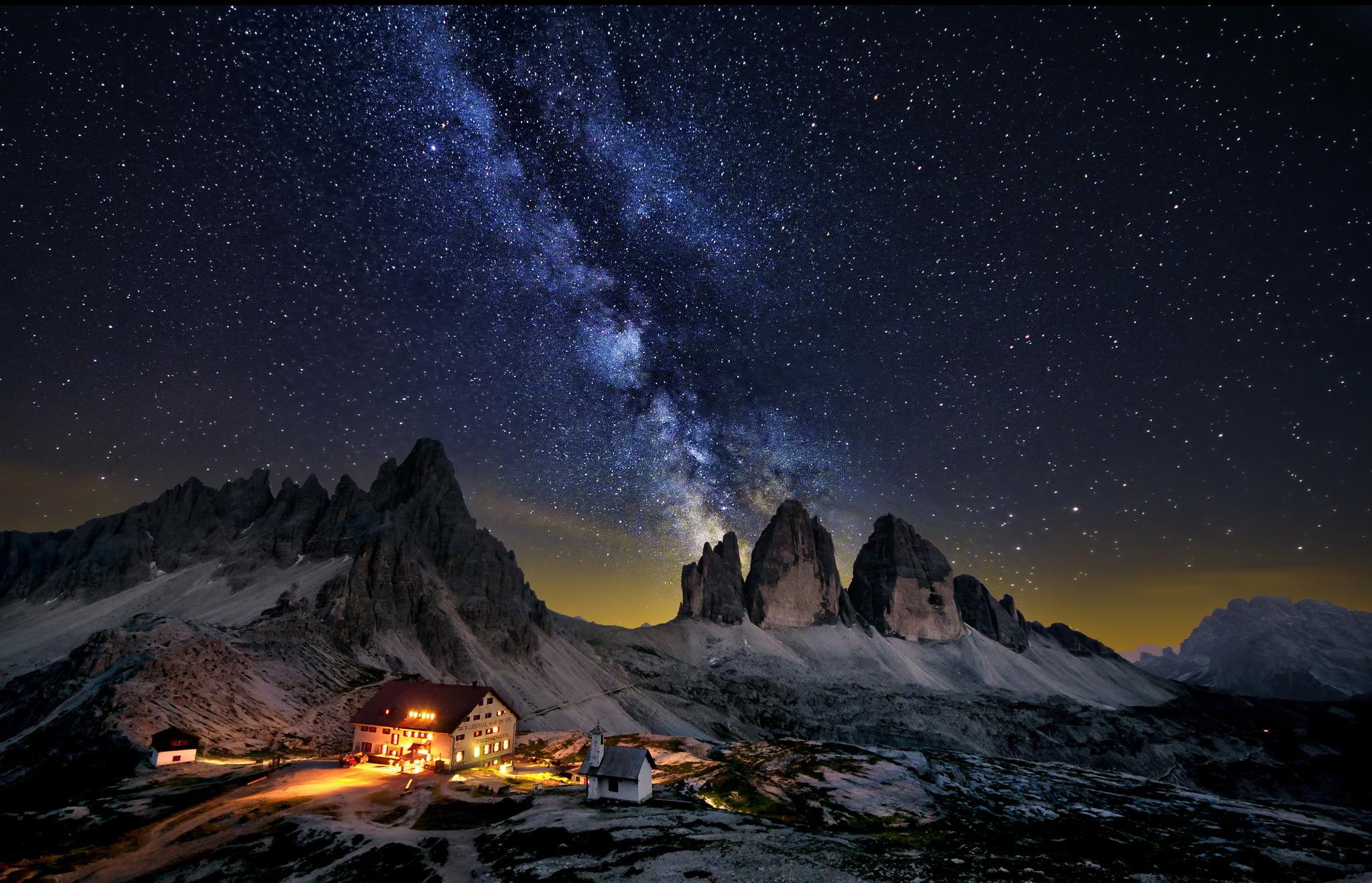 природа космос горы скалы небо звезды ночь  № 851860 бесплатно
