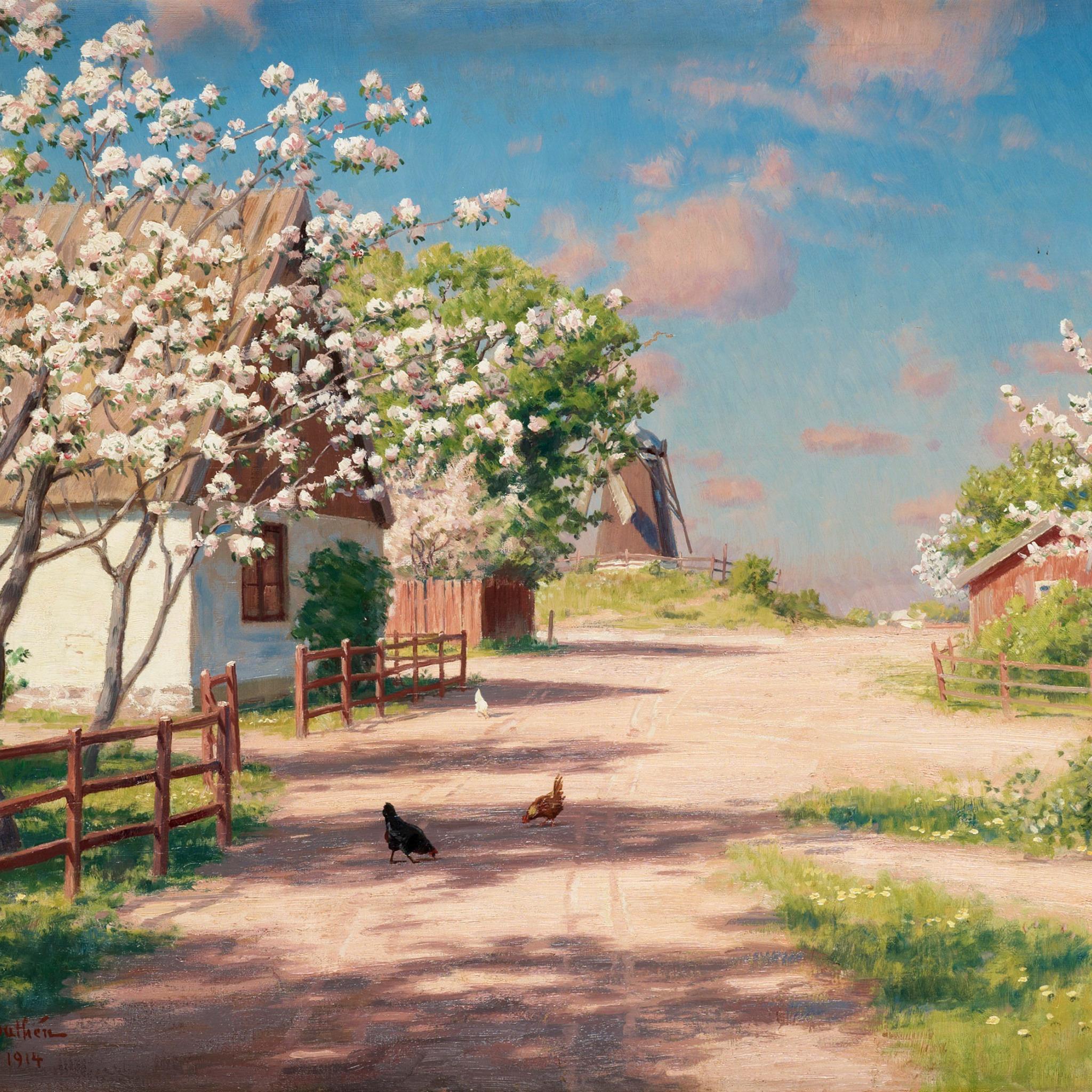 цветущие деревья во дворе  № 532038  скачать