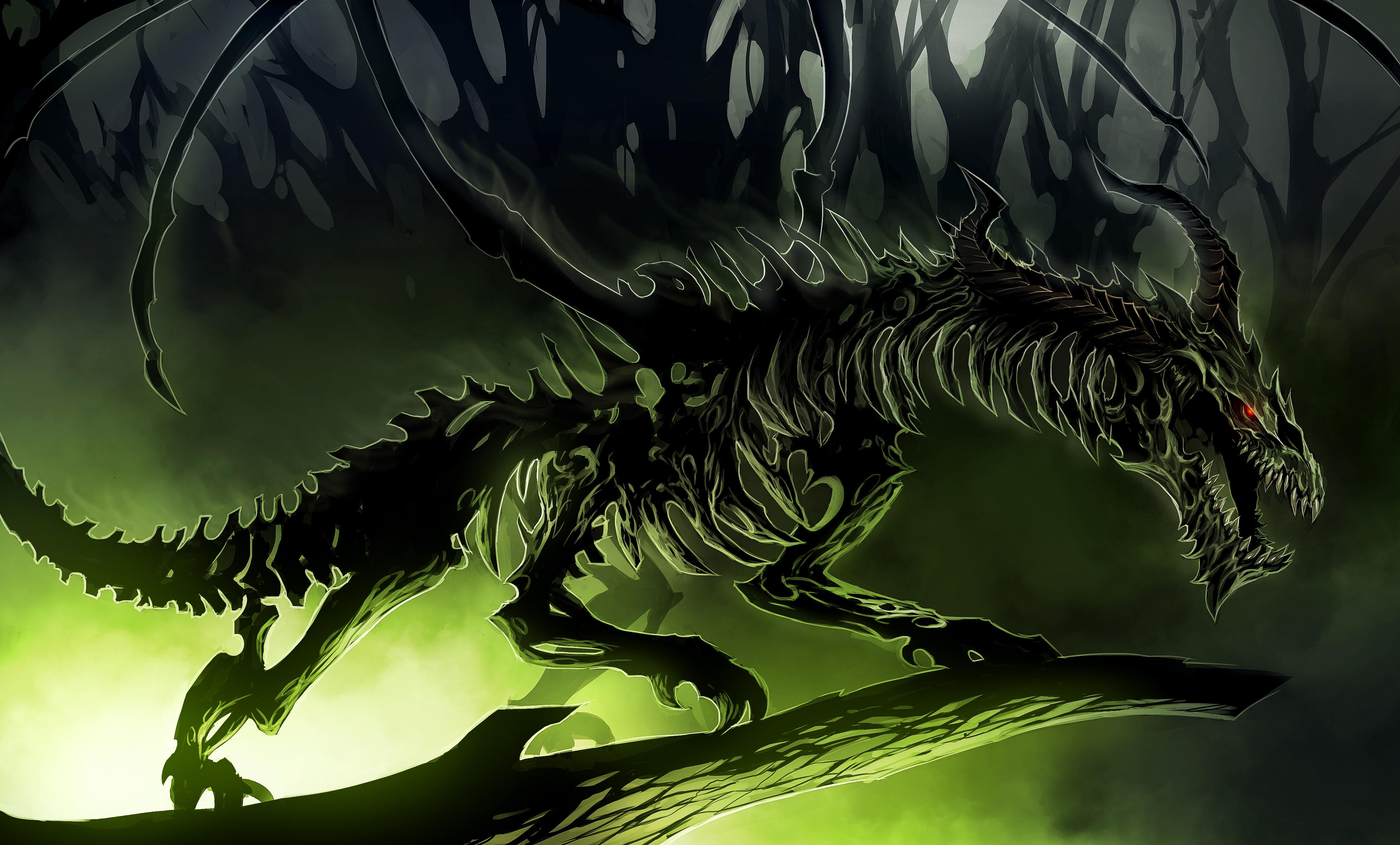 Нарисованый фэнтезийный зеленый дракон  № 3349248  скачать