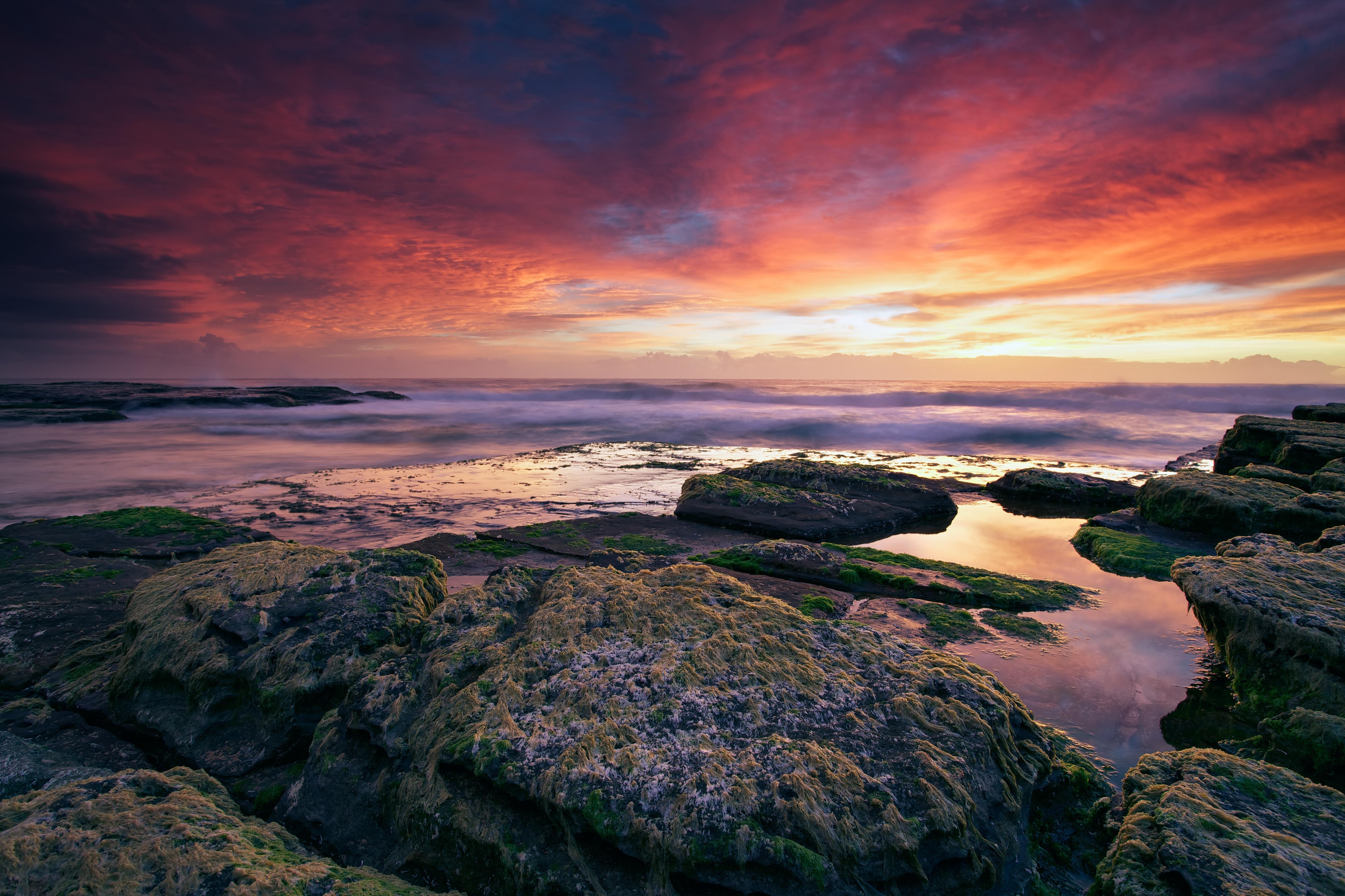 море океан камни скалы закат sea the ocean stones rock sunset  № 2530582  скачать