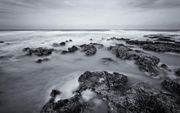 Фото обои волны, небо, камни, океан, горизонт, прибой