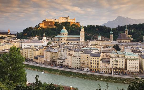 Фото обои река, здания, Австрия, Austria, Salzburg, Зальцбург, Hohensalzburg castle