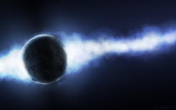 Фото обои туманность, звезды, свет, бесконечность, планета