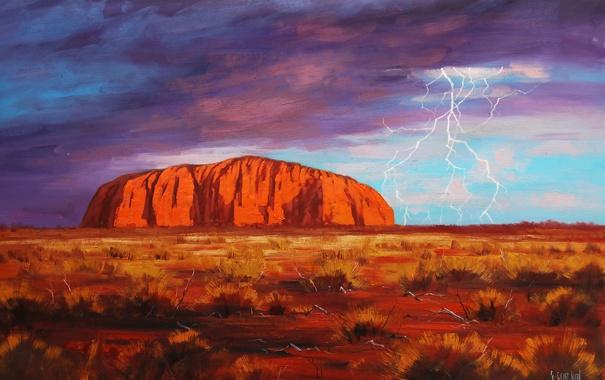 Фото обои гроза, пустыня, гора, австралия, art, artsaus, улуру