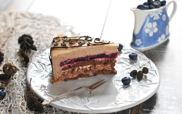 Фото обои ягоды, черника, торт, пирожное, cake, десерт, джем