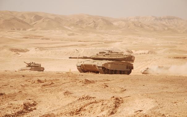 Фото обои пустыня, танк, Merkava