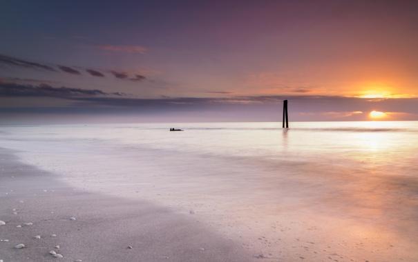 Фото обои море, облака, закат, камни