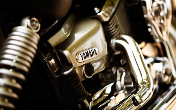 Фото обои макро, двигатель, мотоцикл, хром, yamaha, bike, мотор