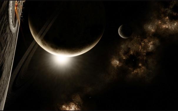 Фото обои звезды, туманность, планеты, кольца, спутники, nebula, кратеры