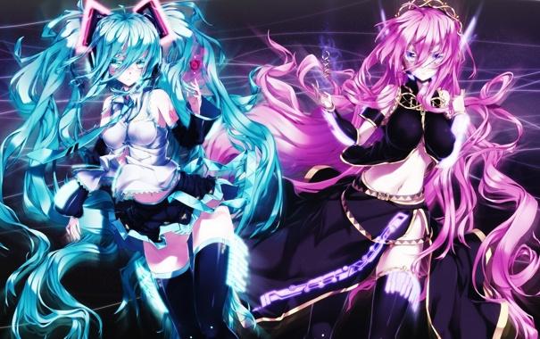 Фото обои линии, абстракция, девушки, арт, vocaloid, hatsune miku, megurine luka