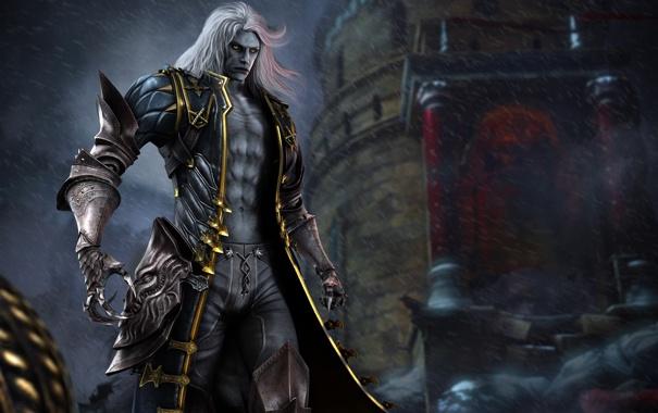Фото обои взгляд, здание, броня, плащ, Алукард, Вампир, Vampire
