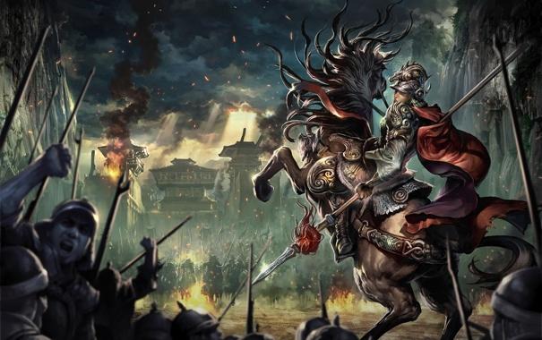 Фото обои light, fire, war, clouds, rider, battle, horse