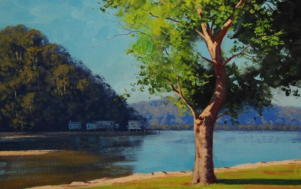 Фото обои лето, пейзаж, река, дерево, дома, арт, постройки