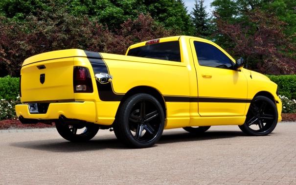 Фото обои Dodge, yellow, 1500, track, ram, back, rumble bee concept