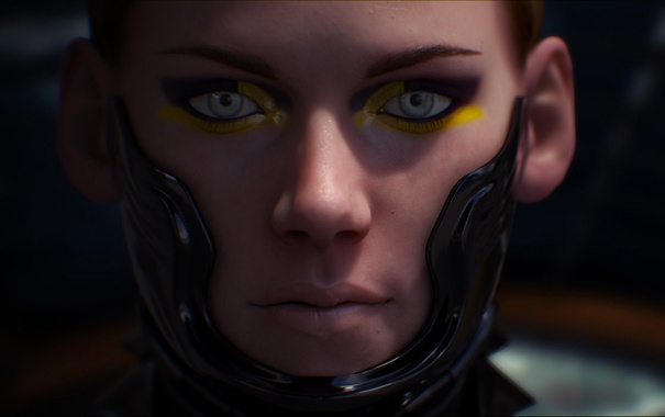 Фото обои глаза, взгляд, девушка, лицо, фантастика, арт, stephen erik schirle