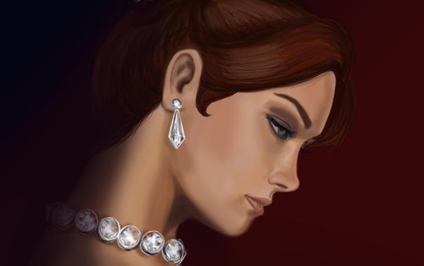 Фото обои девушка, украшения, арт, профиль, Anastasia, принцесса, Анастасия