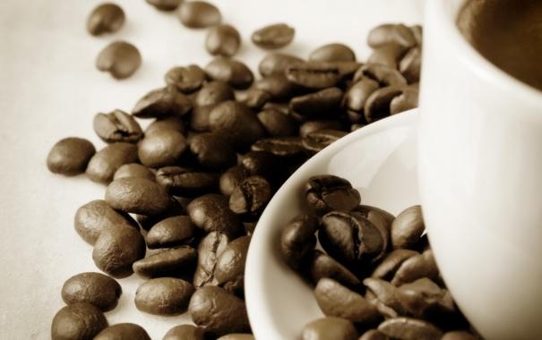 Фото обои кофе, зерна, чашка, блюдце