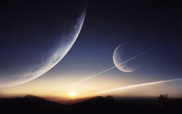 Фото обои небо, закат, горы, планеты