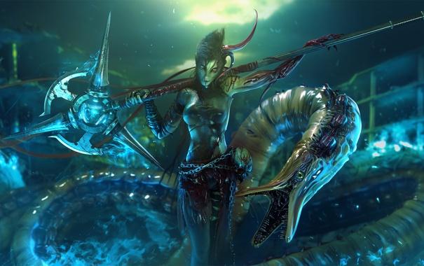Фото обои девушка, дым, череп, змея, монстр, арт, цепь