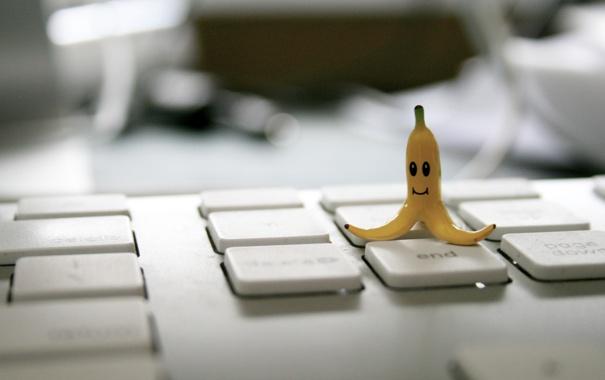 Фото обои шкура, клавиатура, банан