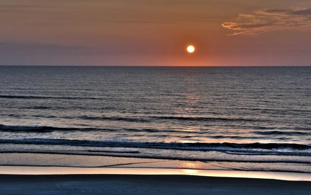 Фото обои море, волны, небо, вода, солнце, пейзаж, закат