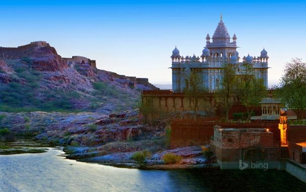 Фото обои небо, горы, озеро, Индия, дворец, Джодхпур, Джасвант Тада