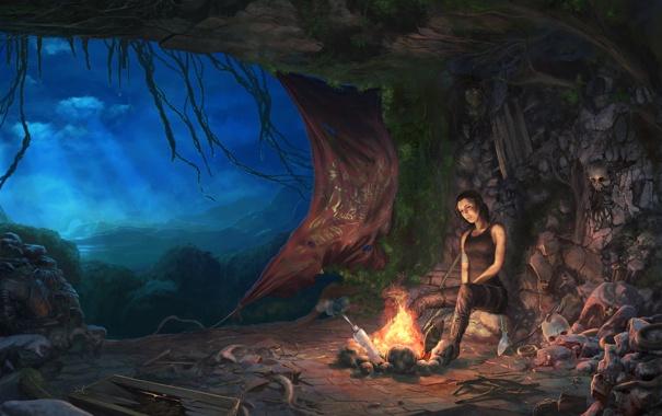 Фото обои ночь, черепа, Tomb Raider, крофт, лара, скилеты