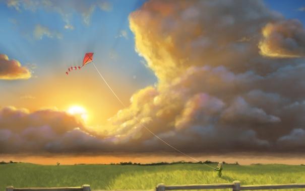 Фото обои поле, небо, трава, солнце, облака, воздушный змей, девочка
