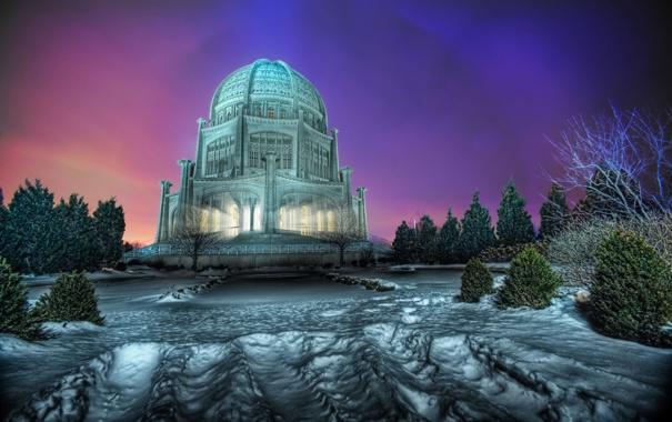 Фото обои зима, свет, снег, здание, hdr, храм