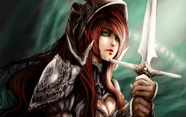 Фото обои лес, девушка, эльф, меч, воин, арт, girl