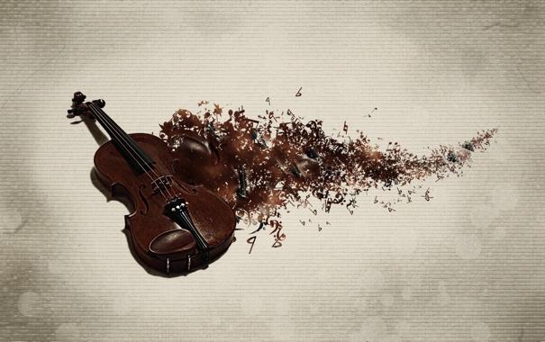 Фото обои скрипка, след, музыка, фон, ноты, музыкальный инструмент