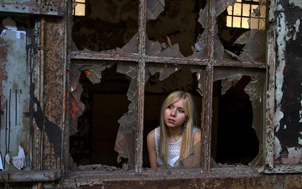 Фото обои девушка, настроение, окно