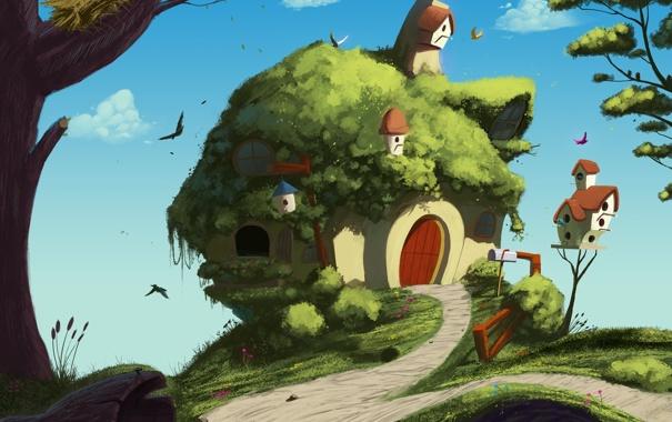 Фото обои деревья, птицы, дом, арт, дорожка, домик, скворечники