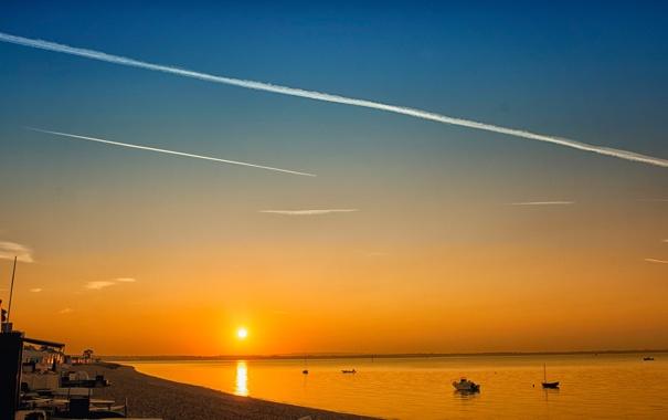 Фото обои море, небо, солнце, закат, берег