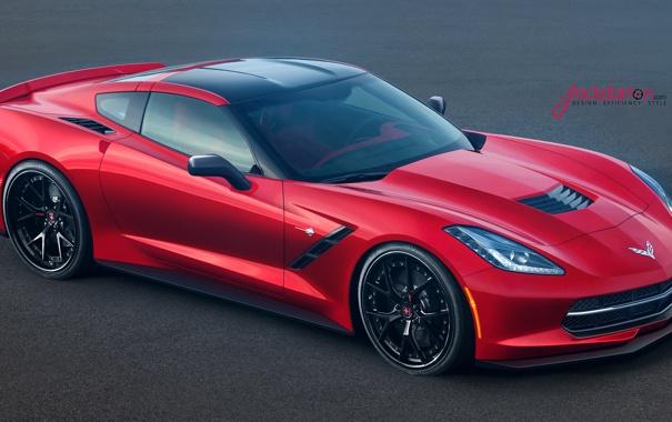 Фото обои красный, Corvette, Chevrolet, red, шевроле, front, Jackdarton