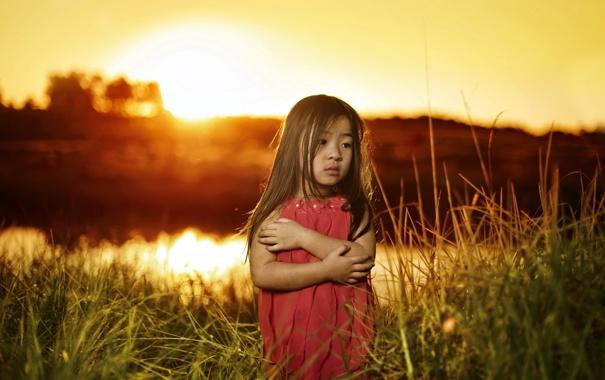 Фото обои закат, настроение, портрет, девочка