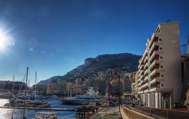 Фото обои дорога, солнце, город, лодки, причал, франция, монако
