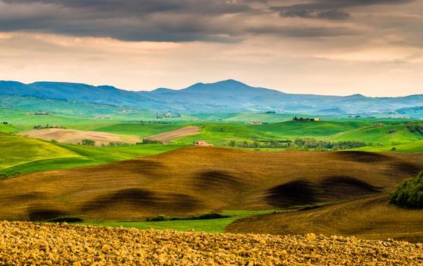Фото обои трава, деревья, горы, дом, холмы, Италия, Тоскана