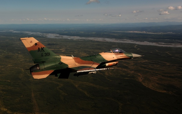 Фото обои истребитель, полёт, Fighting Falcon, F-16C