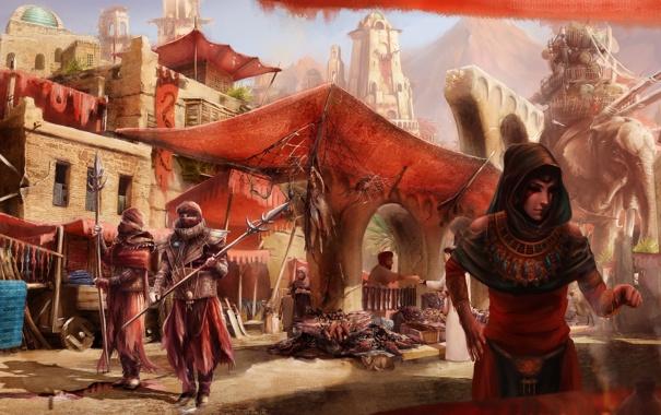 Фото обои девушка, город, люди, слон, арт, рынок, стражи