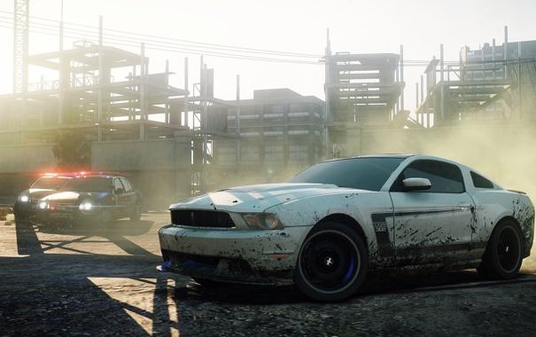 Фото обои гонка, полиция, погоня, автомобиль, need for speed most wanted 2, Ford Mustang Boss 302