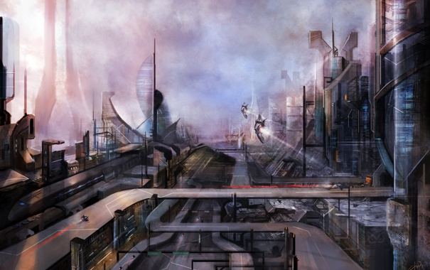 Фото обои город, будущее, фантастика, арт, by cloudminedesign, environment 2036