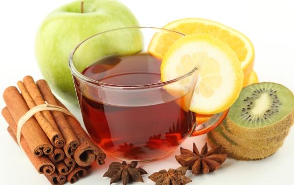 Фото обои лимон, чай, яблоко, апельсин, киви, корица, анис