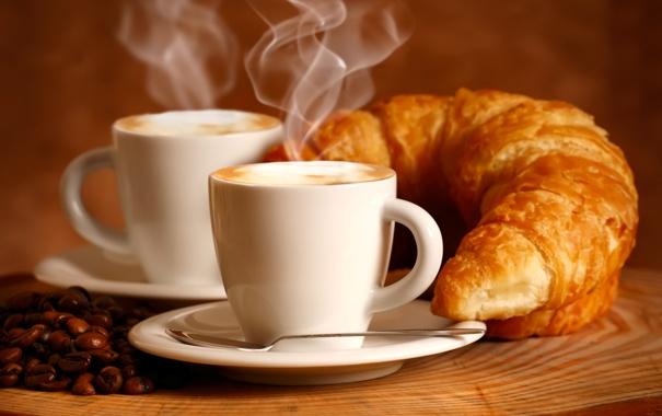 Фото обои кофе, аромат, пенка, круассаны