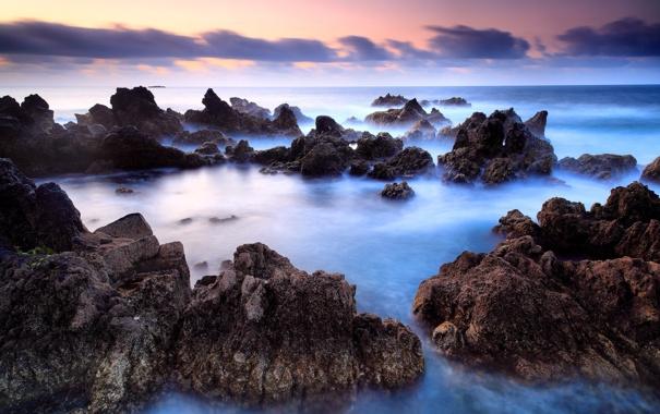 Фото обои камни, побережье, океан