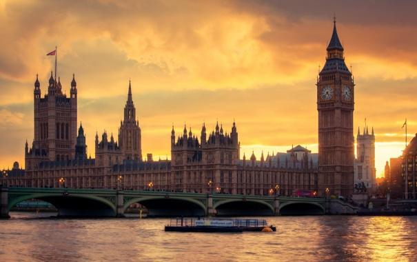 Фото обои мост, город, река, Англия, Лондон, Великобритания, Темза