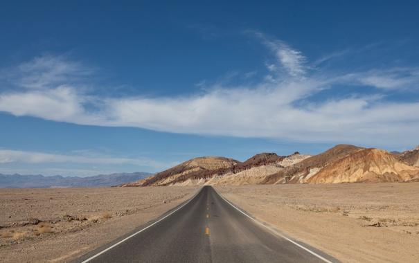 Фото обои дорога, небо, горы, фон, настроение, холмы, обои