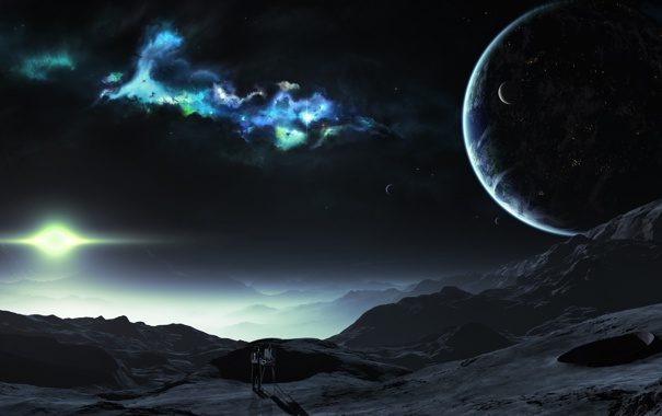 Фото обои туманность, планеты, космонавт, художник, кратер, спутники